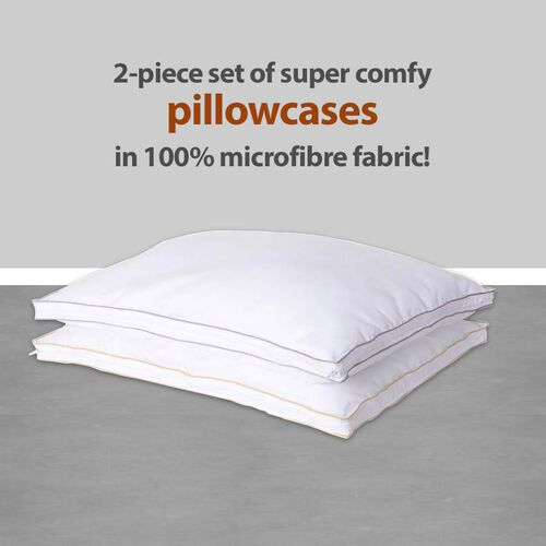 2 Piece Set- Superfine Microfibre Pillow Enchancer Filled with Faux Down and Finished with Satin Gold and Silver Piping (50x70 Cm)