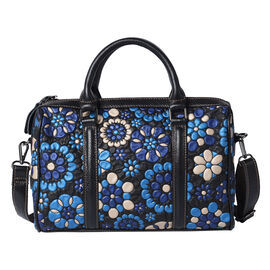 100% Genuine Leather Embossed Floral Pattern Satchel Bag (Siz3 31x9x21cm) - Blue