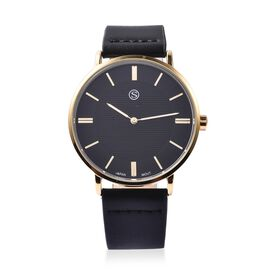 STRADA Japanese Movement Water Resistance Watch in Gold Plating - Black