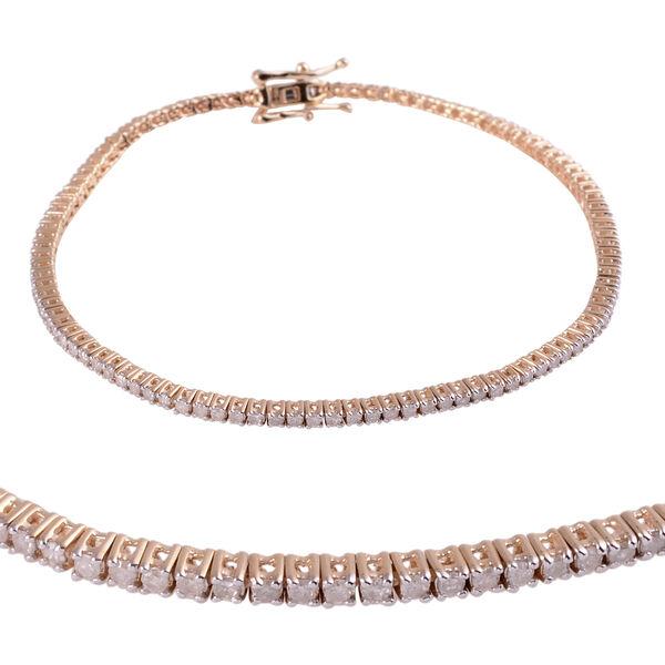 9K Yellow Gold Diamond (Rnd) (I4 / G-H) Bracelet (Size 7.00) 1.00 Ct, Gold wt 5.20 Gms