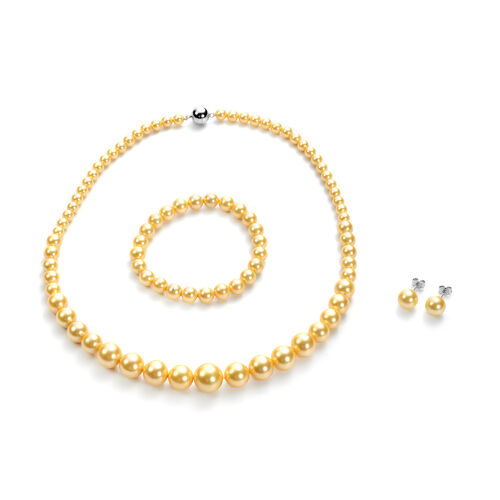 3 Piece Set - Golden Shell Pearl Stretchable Bracelet (Size 7), Necklace (Size 20 with Magnetic Lock