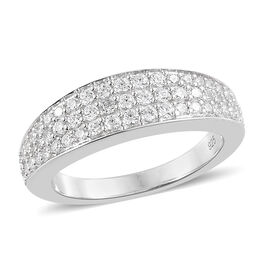 WEBEX- J Francis - Platinum Overlay Sterling Silver (Rnd) Half Eternity Ring Made with SWAROVSKI ZIRCONIA