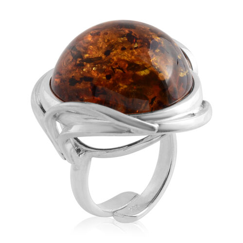 Bi Colour Baltic Amber Adjustable Ring in Sterling Silver, Silver wt 11.00 Gms