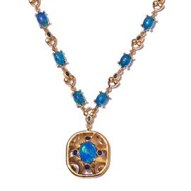 Blue Ethiopian Opal Enamelled Necklace (Size 18) in 14K Gold Overlay Sterling Silver 8.05 Ct, Silver
