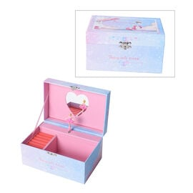 Castle in the Sky Music Blue Jewellery Box with Heart Shape Mirror and Pink Interior (18x12x10cm)