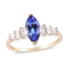 9K Yellow Gold Tanzanite and Diamond Ring 1.16 Ct.