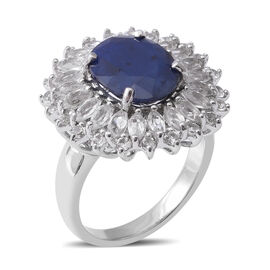 Designer Inspired- Kanchanaburi Blue Sapphire (Ovl 12x10mm, 5.56 Ct) and White Topaz Ring in Rhodium