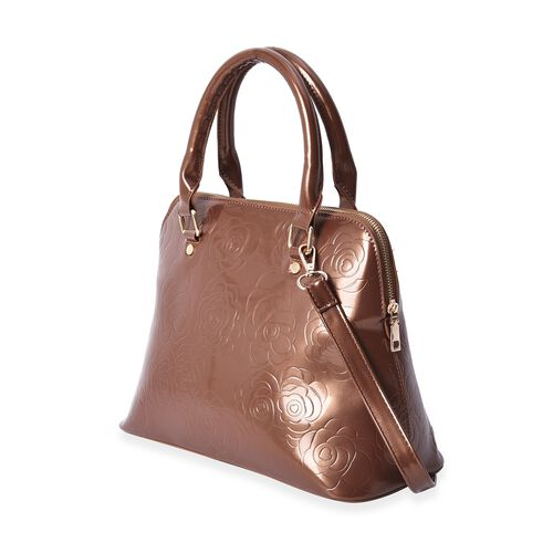 3 Piece Set - Rose Floral Embossed Tote Bag, Clutch and Card Bag with Detachable Shoulder Strap - Brown