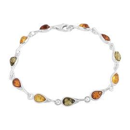 Baltic Amber Bracelet (Size 7.25) in Sterling Silver