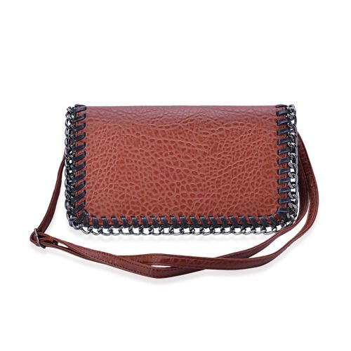 Croc Embossed Chocolate and Black Colour Crossbody Bag with Adjustable Shoulder Strap (Size 29x16x4