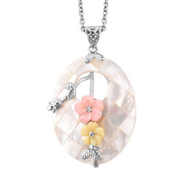 Multi Colour Shell and White Crystal Floral Pendant with Chain