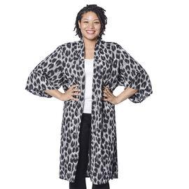 Black and White Leopard Pattern Duster Long Kimono (Size upto 24)