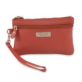 100% Genuine Leather Coral Colour Wristlet Pouch (Size 18.5x12 cm)