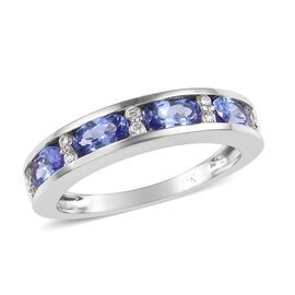 9K White Gold AA Tanzanite (Ovl), Natural Cambodian Zircon Half Eternity Band Ring 1.15 Ct.