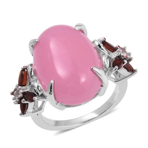 Pink Jade (Ovl 14.50 Ct), Mozambique Garnet and Natural White Cambodian Zircon Ring in Sterling Silv