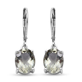 Prasiolite Lever Back Earrings in Rhodium Overlay Sterling Silver 4.880 Ct.