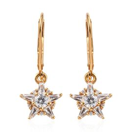 J Francis - 14K Gold Overlay Sterling Silver (Rnd and Bgt) Lever Back Star Earrings Made with SWAROV