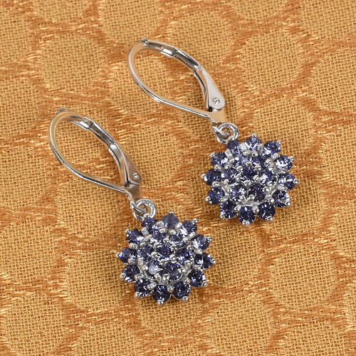 J Francis Crystal from Swarovski Tanzanite Colour Crystal Lever Back Cluster Earrings in Platinum Overlay
