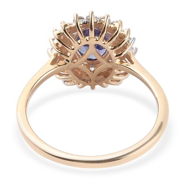 9K Yellow Gold  Tanzanite and Natural Cambodian Zircon Halo Ring 1.15 Ct