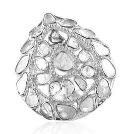 Artisan Crafted Polki Diamond Ring in Sterling Silver 1.60 Ct.