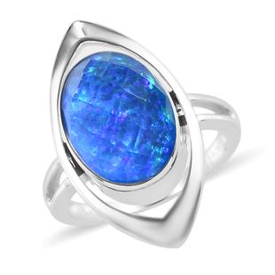 Sajen Silver ILLUMINATION Collection - Sajen Silver Opal Quartz Doublet Ring in Platinum Overlay Ste