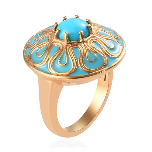 Arizona Sleeping Beauty Turquoise Enamelled Floral Ring in 14K Gold Overlay Sterling Silver 1.15 Ct, Silver wt 6.50 Gms