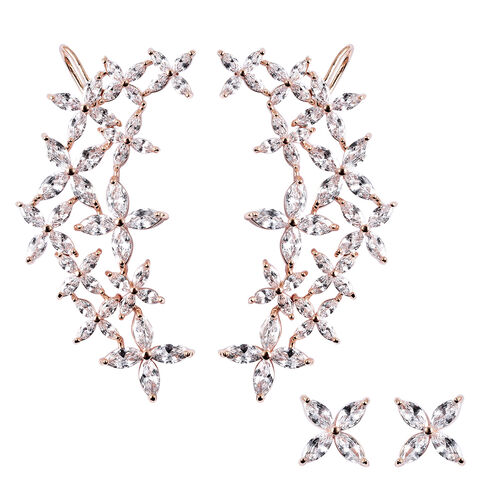 Simulated Diamond Ear Cuffs and Studs (with Push Back) in Rose Gold Tone