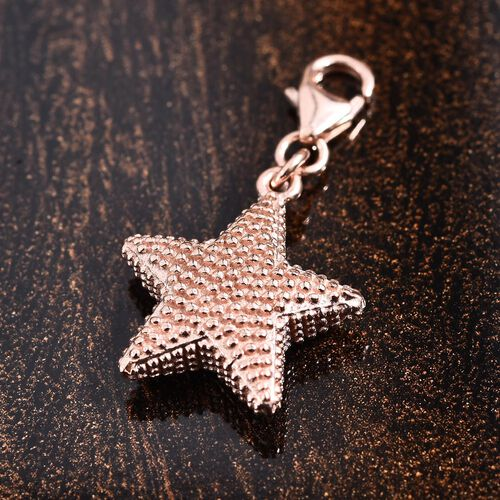 Rose Gold Overlay Sterling Silver Star Fish Charm