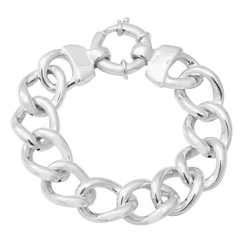 Link Bracelet with Senorita Clasp in Thai Sterling Silver 7.5 Inch