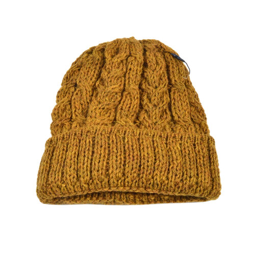Aran 100% Pure Woollen Mills Cable Irish Hat in Mustard Colour (One Size)