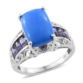 6.93 Ct Ceruleite and Iolite Classic Ring in Platinum Plated Silver 5.37 Grams