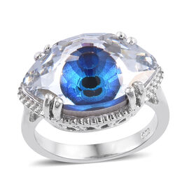 J Francis  Bermuda Blue Crystal From Swarovski Evil Eye Ring in Platinum Plated Sterling Silver