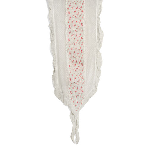 100% Cotton Multi Colour Floral Printed Ruffled White Colour Scarf (Size 200x40 Cm)