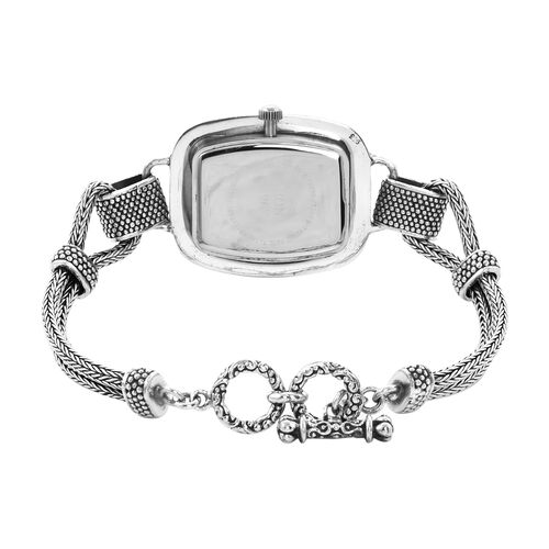 Royal Bali Collection - EON 1962 Swiss Movement Water Resistant Tulang Naga Bracelet Watch (Size 7.25 with Extender) in Sterling Silver, Silver wt 26.44 Gms
