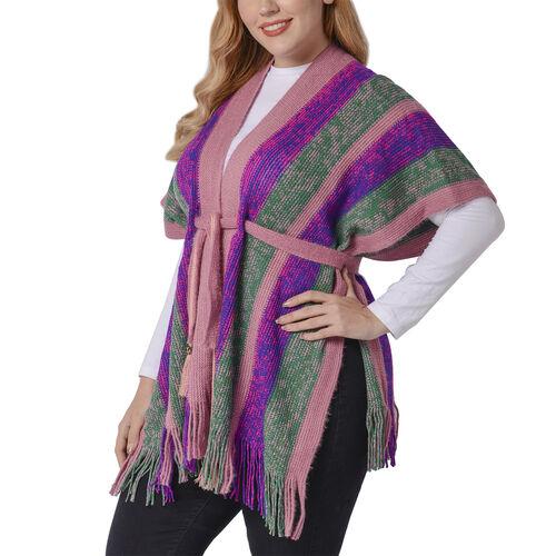 Purple Striped Shawl Wrap with Waist Belt (Size 84x66+10cm)