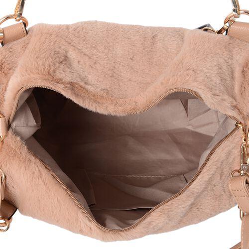 Camel Colour Faux Fur Tote Bag with Removable Shoulder Strap (Size 34x27x11 Cm)