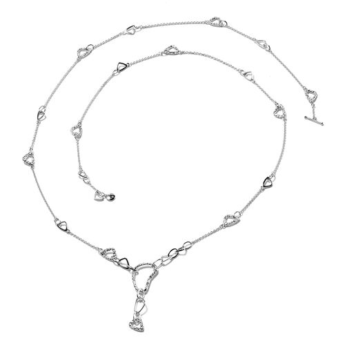 RACHEL GALLEY - Rhodium Overlay Sterling Silver Station and Link Necklace (Size 40), Silver wt. 26.2