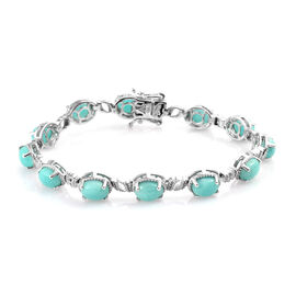 14 Carat Peruvian Amazonite Tennis Bracelet in Platinum Plated Sterling Silver 14.10 Grams