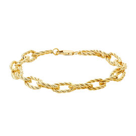 Hatton Garden Close Out Deal - 9K Yellow Gold Diamond Cut Textured Link Bracelet (Size 7.5)