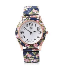 STRADA Japanese Movement Water Resistant Floral Printed Watch in Rose Gold Tone - Navy Blue