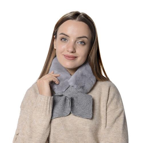 Faux Fur Scarf (Size 10x88cm) - Grey