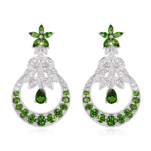 Russian Diopside (Pear), Natural Cambodian White Zircon Dangle Earrings (with Push Back) in Rhodium