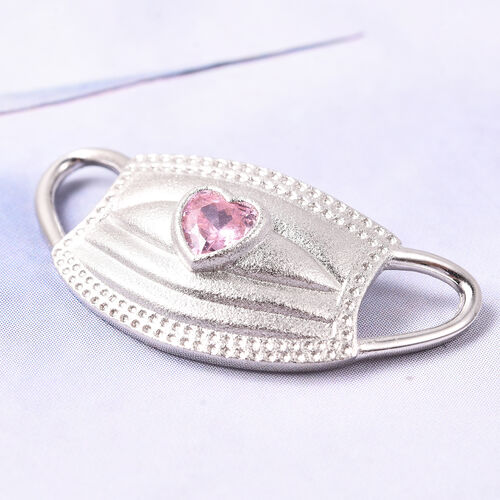Simulated Pink Sapphire Heart on Mask Charm or Pendant in Rhodium Overlay Sterling Silver