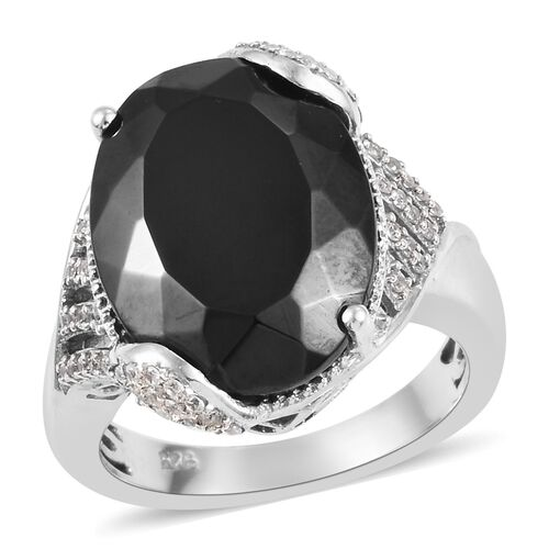 5.75 Ct Elite Shungite and Zircon Classic Ring in Platinum Plated Silver