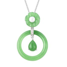 Green Jade, Freshwater Pearl and Natural White Cambodian Zircon Pendant With Chain (Size 18) in Rhod