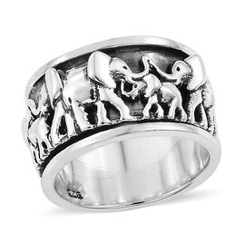 Artisan Crafted Sterling Silver Elephant Spinner Ring, Silver wt 8.73 Gms
