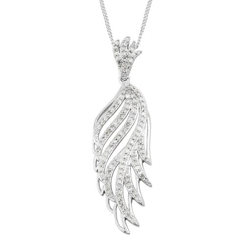 Diamond (Rnd) Pendant with Chain in Platinum Overlay Sterling Silver 0.500 Ct. Number of Diamonds 121