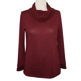 SUGAR CRISP Cowl Neck Jumper (Size M) - Wine Red
