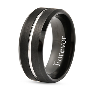 Personalised Engravable Secret Message Band Ring in Natural Tungsten