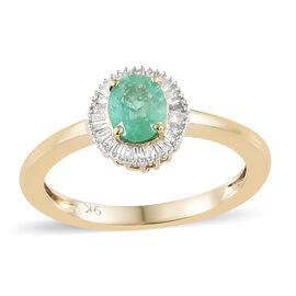 9K Yellow Gold AA Boyaca Colombian Emerald (Ovl), Diamond Ring 0.750 Ct.